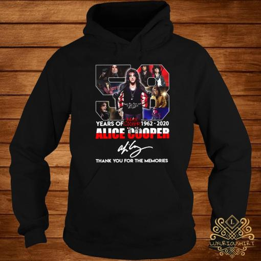 58 Years Of 1962 2020 Alice Cooper Thank You For The Memories Shirt hoodie