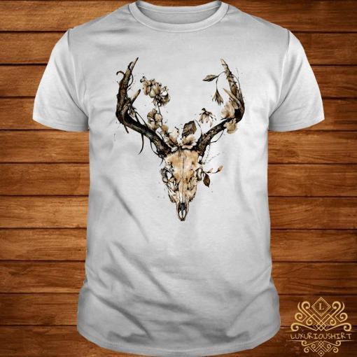 Cow Bull Skull Flower Shirt