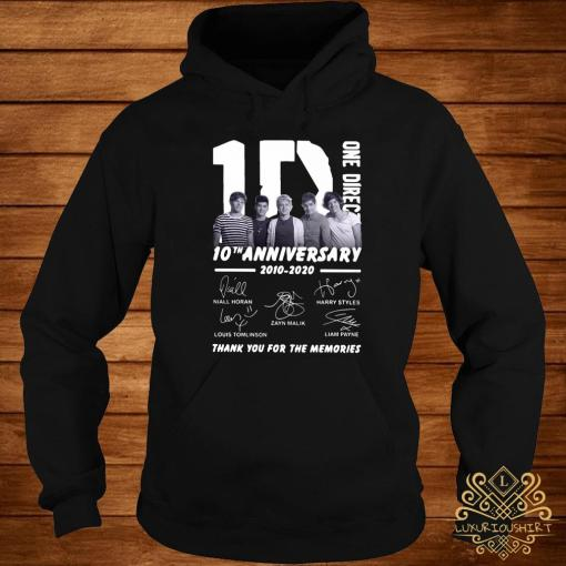 1D One Direction 10th Anniversary 2010 2020 Thank You For The Memories Shirt hoodie