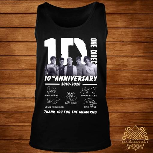 1D One Direction 10th Anniversary 2010 2020 Thank You For The Memories Shirt tank-top