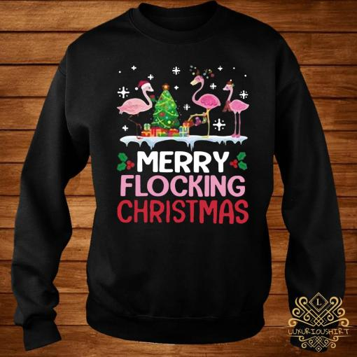 Flamingo Merry Flocking Christmas Shirt sweater