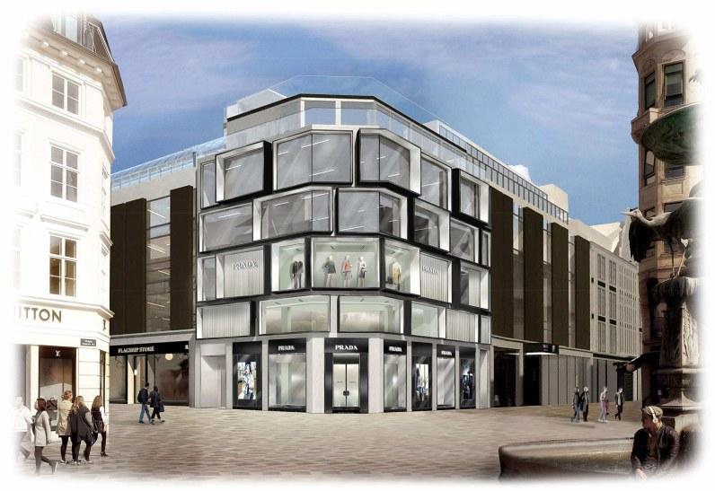 Den imponerende Prada-butik på hjørnet af Illum.
