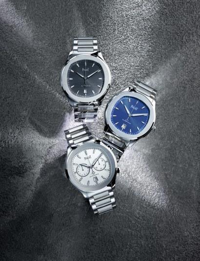 Piaget Polo S fås som Three Hander og Chronograph. Three Handerversionen tilbydes med hvid, blå og grå skive, Chronograph med hvid og blå.