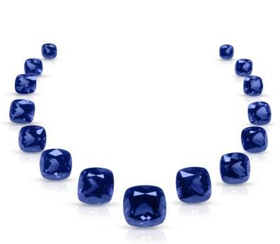 Firmaet A G Color har samlet 15 størrelsesgradurede cushionslebne tanzanitter (i alt 237.14 carat) til en halskæde.