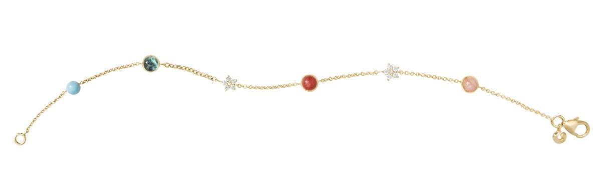 Inspirationen til dette armbånd har designeren Charlotte Lynggaard fundet i den glædesfyldte cirkusånd, og det er samtidig en moderne hyldest til tredivernes og fyrrernes omrejsende cirkus. Ole Lynggaard Circus-armbånd, 11.900 kr.