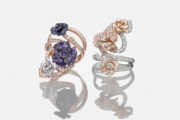 Palmieros asiatisk-inspirerede Roseto-ringe af 18 karat hvidguld og rosa guld med diamanter og safirer