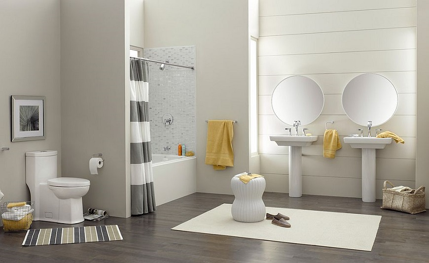 How To Get A Trendy And Refreshing Gray And Yellow Bathroom