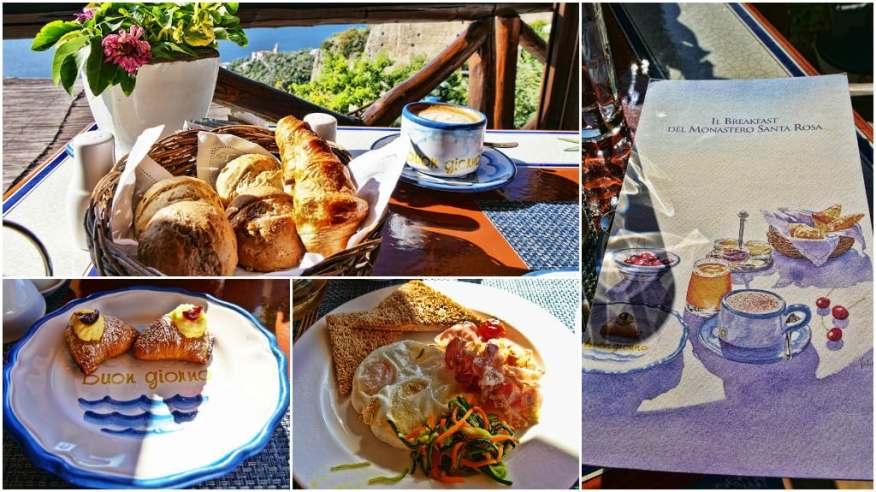 Monastero Santa Rosa breakfast dishes