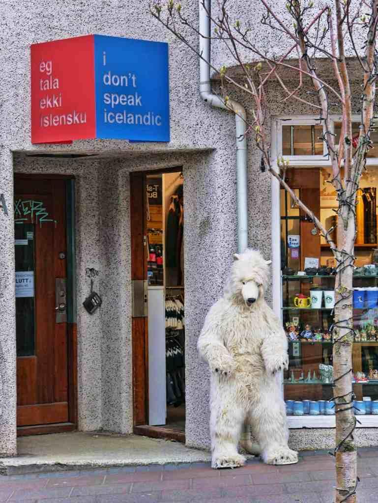 A polar bear outside the Icelandic shop, I Don't Speak Icelandic, in Reykjavik, Iceland