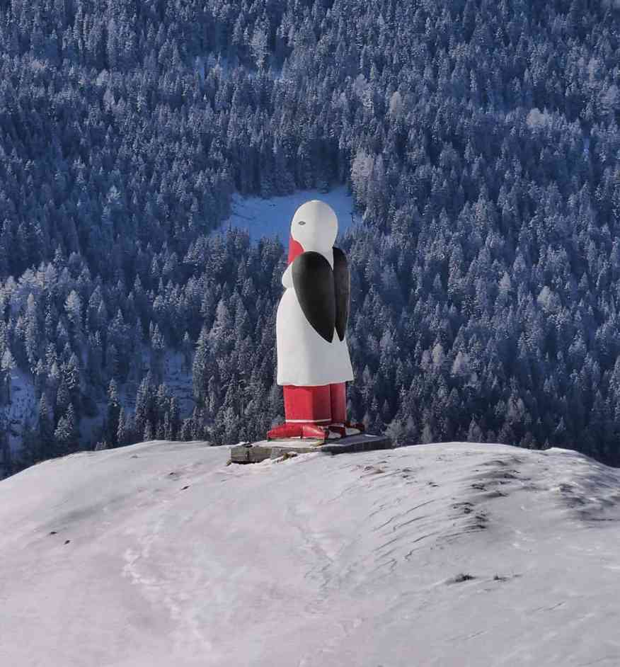 What to see in Verbier - this penguin on the ski slopes is a nice surprise! - Luxury Columnist - a style and travel blog