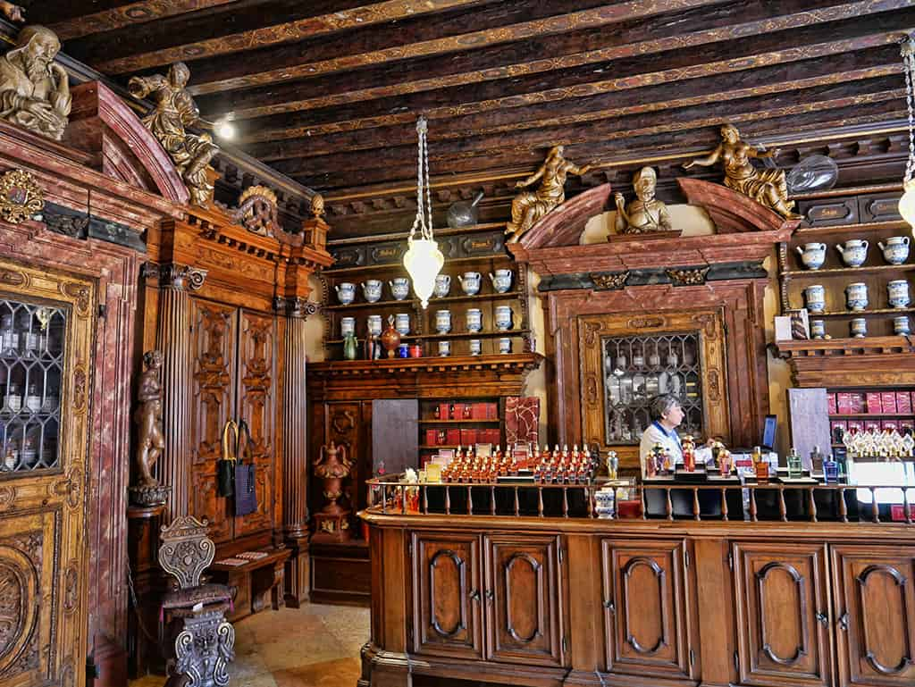 The Merchant of Venice flagship store is housed in a beautiful 17th century pharmacy