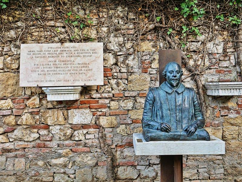 William Shakespeare statue in Verona, Italy