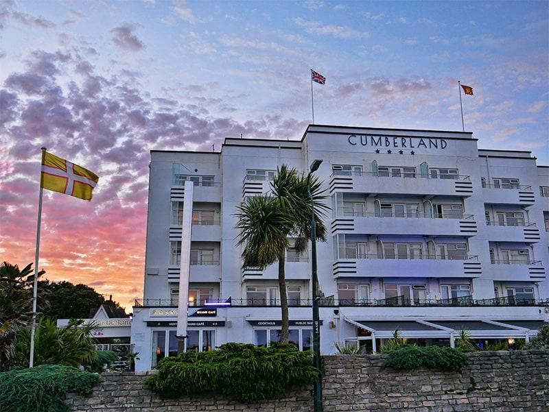 Sun setting at The Cumberland Hotel in Bournemouth, Dorset