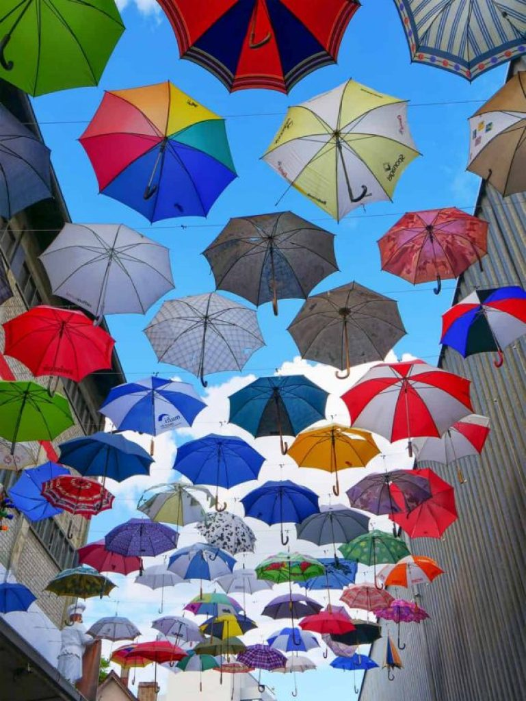 Colourful Gerold Cuchi umbrellas in Zurich, Switzerland