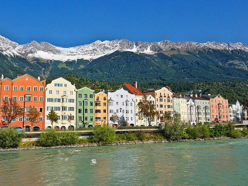 Colourful houses alongside the river Inn, Innsbruck, Austria