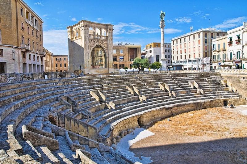 Perspective of the Roman Amphitheatre of Lecce. Puglia. Italy.