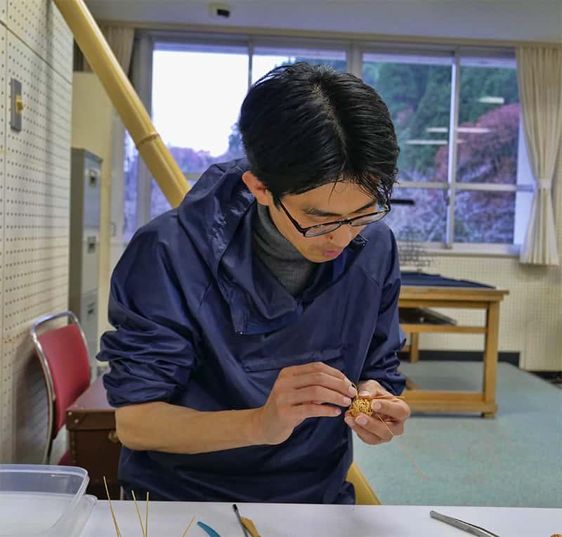 Bamboo pendant making in Oita, Japan