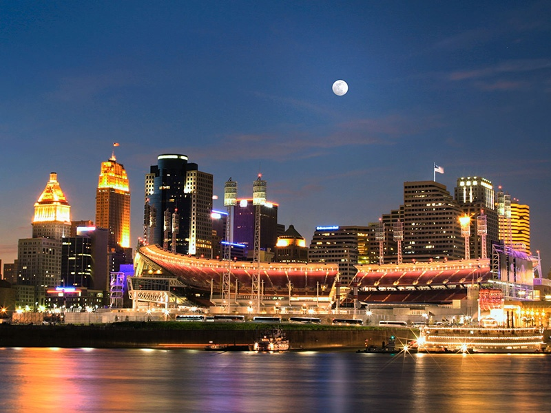 Cincinnati's Paul Brown Stadium, which once made a top-150 list of American architecture, sits on the waterfront next to The Banks entertainment district.