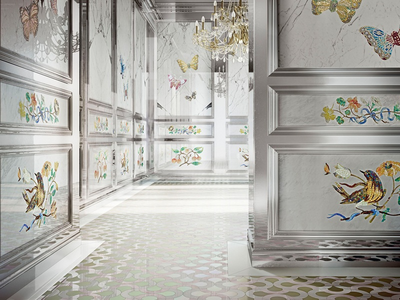 "Above, and banner image: Mosaic designs by Sicis. The company's founder and president, Maurizio Leo Placuzzi, hopes the new flagship store in London will become a ""destination venue for professionals and clients looking for inspiration, uniqueness, and fine craftsmanship."""