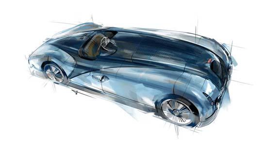 Design sketch of Jean-Pierre Wimille's Le Mans winning Type 57G Tank.