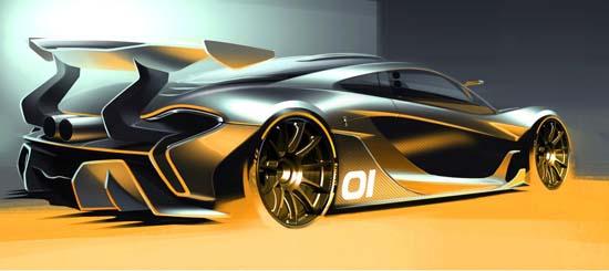 McLaren P1 GTR concept sketch rear