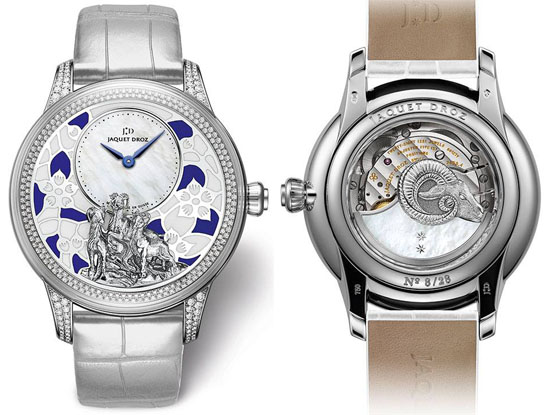 Reference: J005024277 Movement: Jaquet Droz 2653, self-winding mechanical movement, double barrel, 18-carat white gold oscillating weight with white mother-of-pearl and 22-carat white gold goat relief applique, hand-engraved and hand-patinated. Indications: Off-centered hours and minutes Jewelling: 28 jewels Power reserve:68 hours Frequency: 28,800 v.p.h Case: 18-carat white gold case set with 272 diamonds (1.05 carats) Height 13.77 m Individual limited serial number engraved on the case-back Diameter: 41 mm Water resistance: 3 bar (30 meters) Dial: 18-carat white gold dial with champlevé enamel in two colors, hand-engraved and hand-patinated 18-carat white gold goat relief applique, white mother-of-pearl center. Hands: Blued steel Strap: Rolled-edge hand-made gray alligator leather strap Buckle: 18-carat white gold ardillon, set with 24 diamonds (0.15 carats) Diamonds:IF to VVSI, Full Cut, D to G Total number of diamonds: 296 diamonds Total carat weight: 1.20 carats Numerus clausus:28