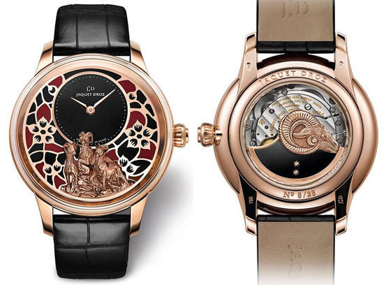 Reference:J005023278 Movement: Jaquet Droz 2653, self-winding mechanical movement, double barrel, 18-carat red gold oscillating weight with onyx and 22-carat red gold goat applique, hand-engraved and hand-patinated. Indications:Off-centered hours and minutes Jewelling: 28 jewels Power reserve: 68 hours Frequency:28,800 v.p.h Case:18-carat red gold Height 13.77 mm Individual limited serial number engraved on the case-back Diameter:41mm Water resistance: 3 bar (30 meters) Dial:18-carat red gold dial with champlevé enamel in two colors, hand-engraved and hand-patinated 18-carat red gold goat relief applique, onyx center. Hands: 18-carat red gold Strap: Rolled-edge hand-made black alligator leather strap Buckle:18-carat red gold ardillon Numerus clausus: 28