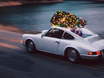 Porsche Bringing Home Christmas Tree