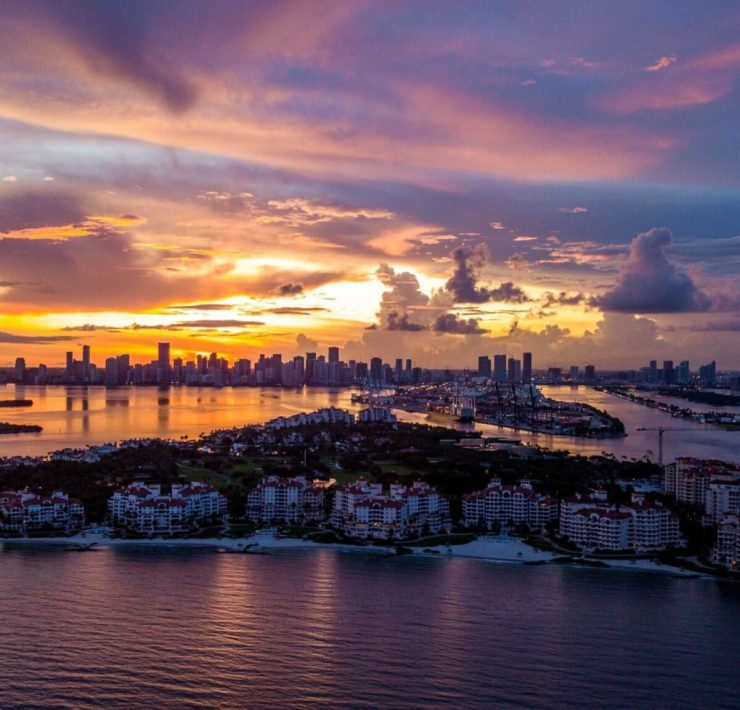 Aerial view of Fisher Island and Downtown Miami