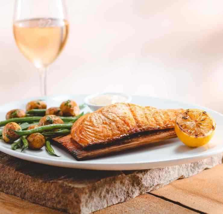 Seasons 52 Fort Lauderdale's Cedar Plank-Roasted Salmon