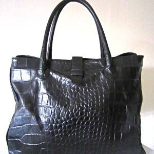 Browns Couture Black Croc Leather Tote