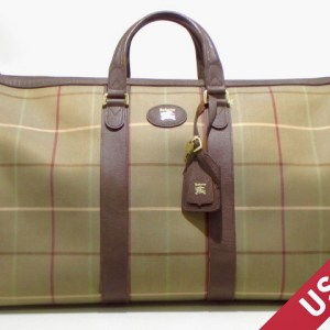 Burberry Green Checked Canvas Duffel Bag-1
