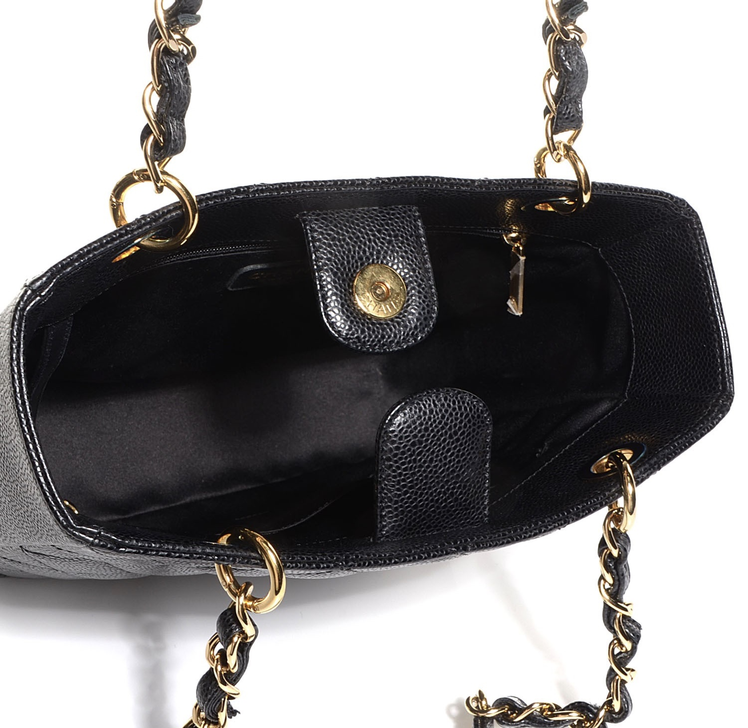 9865ccd3993 Chanel PST Black Caviar Petit Shopping Tote Bag - Luxurylana Boutique