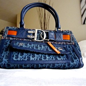 Christian Dior Blue Monogram Denim Flight Handbag
