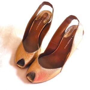 Colin Robertson Gold Leather Peep-Toe Slingback Heels