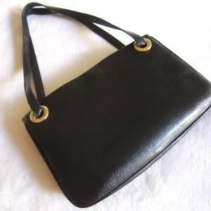 Desmo Black Snakeskin Leather Handbag