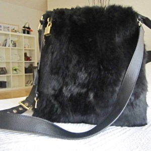 Di Piu Fur & Leather Messenger Bag