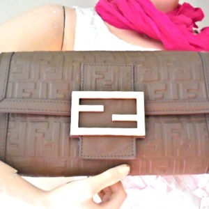 Fendi Signature Grey Leather Clutch