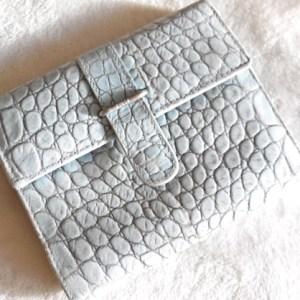 Furla Light Blue Croc Bi-Fold Wallet