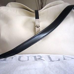 Furla White & Black Leather Hobo Bag
