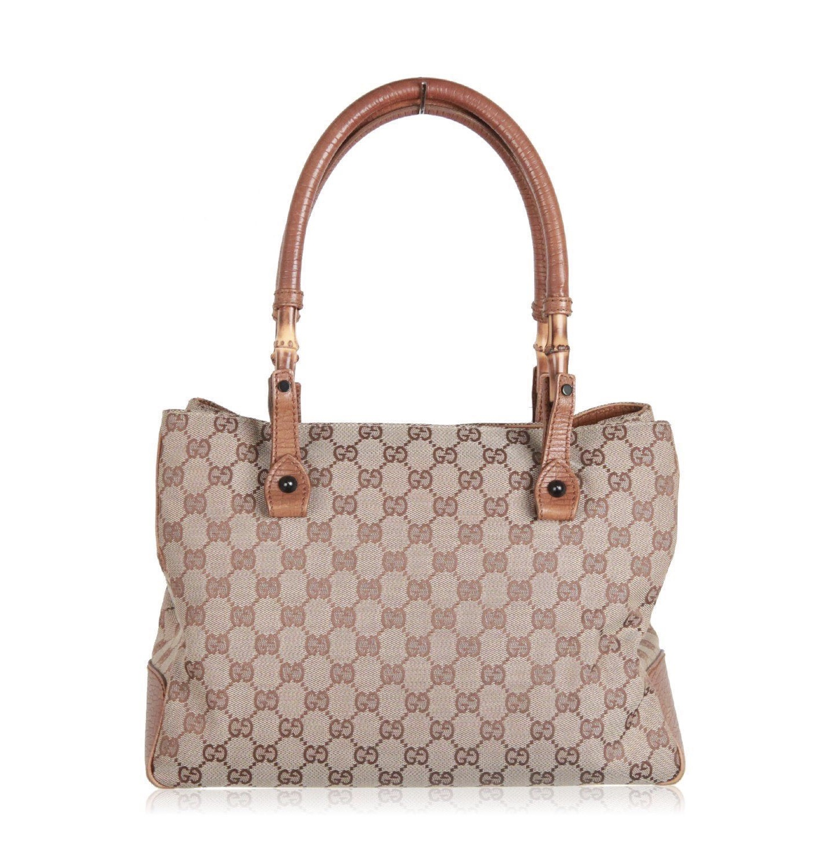 e123de673 Gucci Bamboo Canvas Tote Bag - Luxurylana Boutique