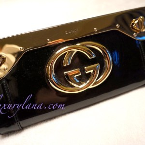 Gucci Black Patent Starlight Evening Clutch