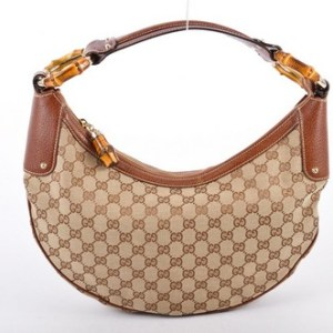 Gucci Monogram GG Bamboo Saddle Hobo Bag-