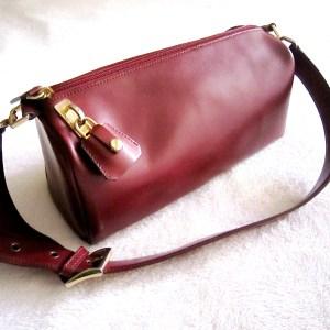 Holt Renfrew Burgundy Leather Shoulder Bag