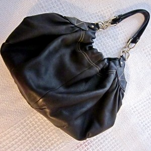 Laundry by Shelli Segal Black Leather Hobo Bag