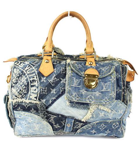 9ba6d0e6cd36 Louis Vuitton Blue Denim Patchwork Speedy 30 Handbag ...