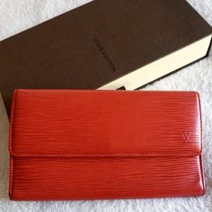 Louis Vuitton Carmine Red Epi Sarah Wallet