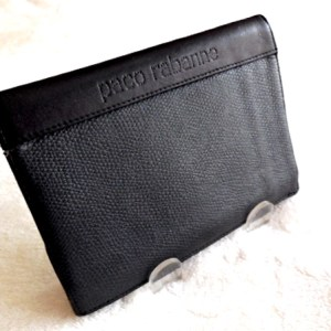 Paco Rabanne Black Leather Tri-Fold Wallet