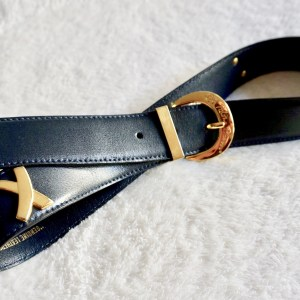 Paloma Picasso Vintage Navy Leather Belt