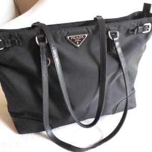 Prada Black Nylon & Leather Tote